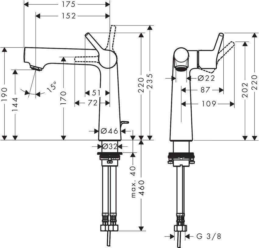 Jednouchwytowa bateria umywalkowa 140 Hansgrohe Talis S rysunek techniczny