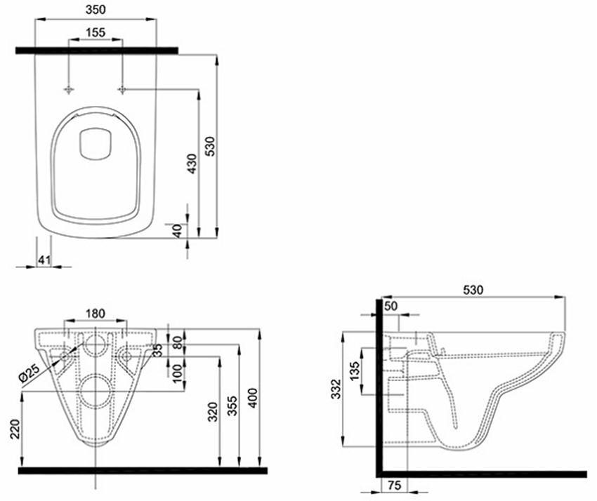 Miska ustępowa prostokątna Rimfree 35x53 cm Koło Nova Pro rysunek techniczny