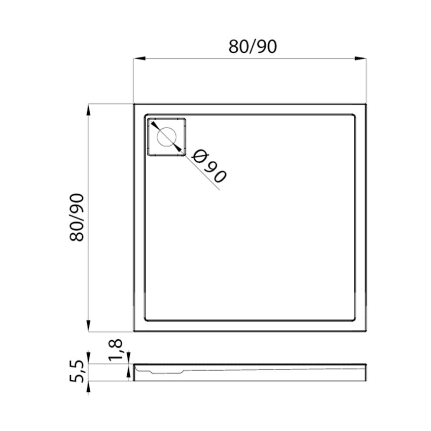 Brodzik kwadratowy New Trendy Lido rysunek techniczny