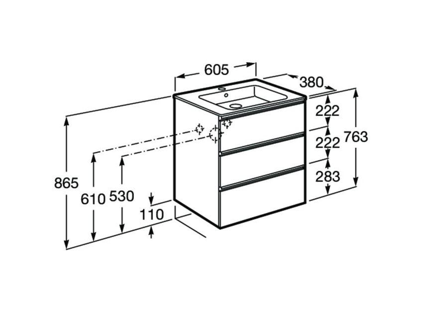 Zestaw łazienkowy compacto 60 cm szafka z umywalką Roca Gap rysunek