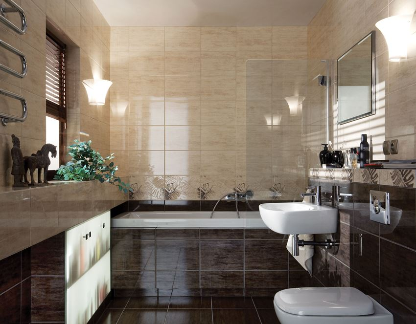Beżowo-brązowa łazienka z połyskiem