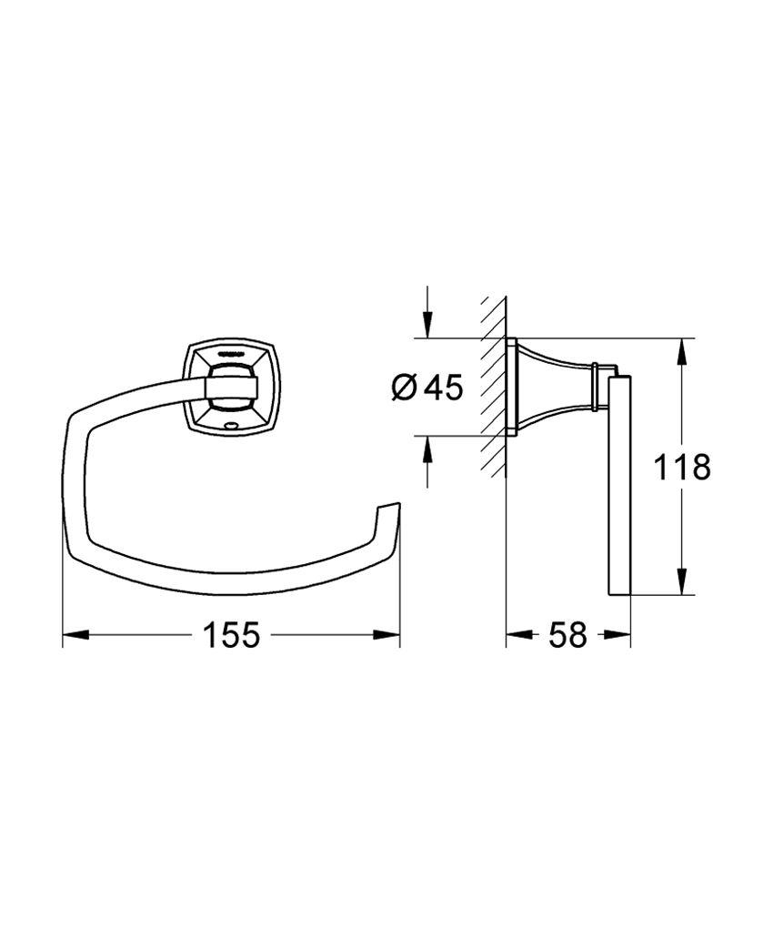 Uchwyt na papier toaletowy Grohe Grandera rysunek techniczny