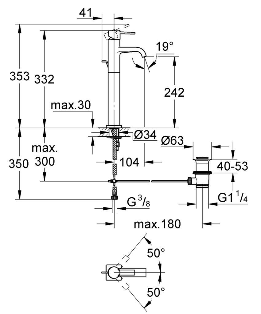 Jednouchwytowa bateria umywalkowa rozmiar XL Grohe Allure rysunek techniczny