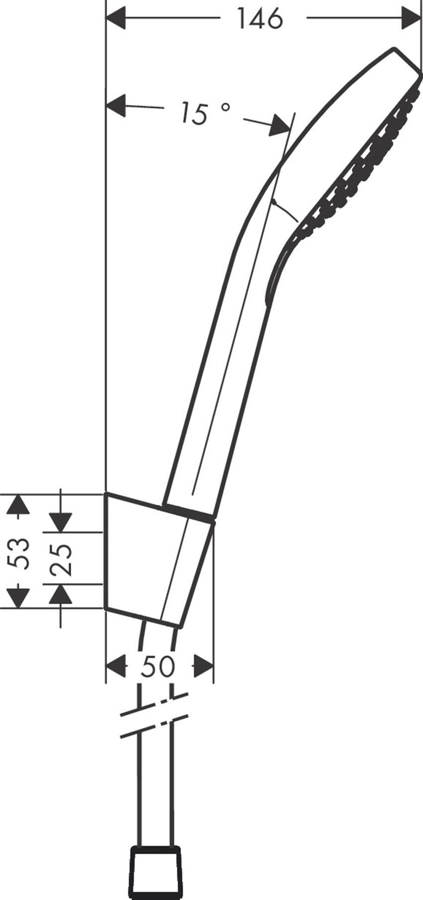 Punktowy zestaw prysznicowy  z wężem 160 cm Hansgrohe Croma Select E rysunek techniczny
