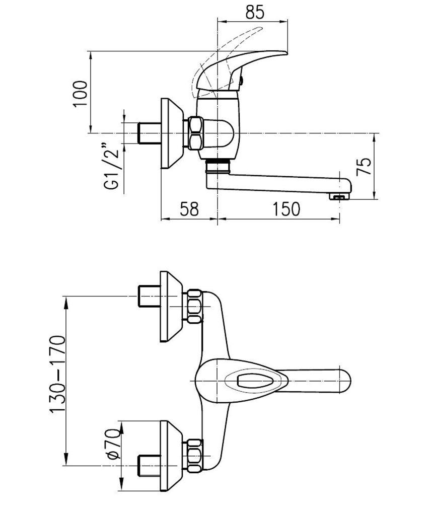 Bateria umywalkowa ścienna KFA Jaspis rysunek techniczny