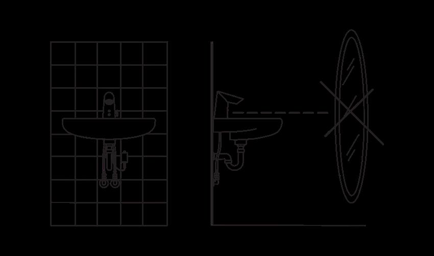 Bezdotykowa bateria umywalkowa Oras Optima rysunek techniczny