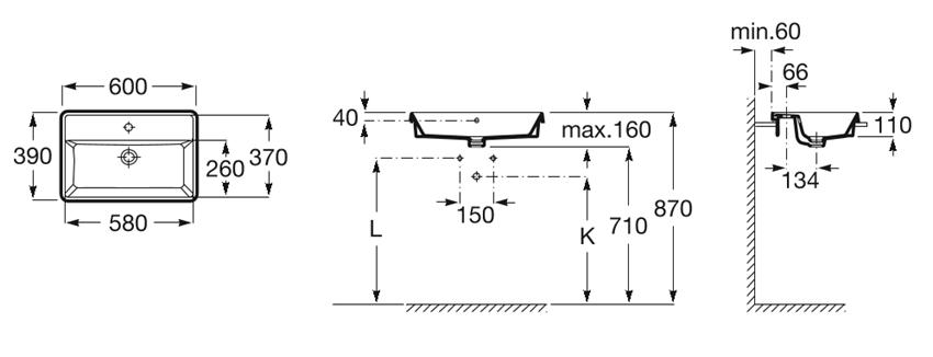Umywalka blatowa prostokątna z otworem na baterię z przelewem z powłoką MaxiClean 60x39x4 cm Roca Gap rysunek