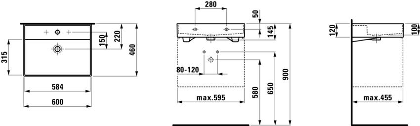 Umywalka ścienna/meblowa 60 cm Laufen Kartell rysunek techniczny