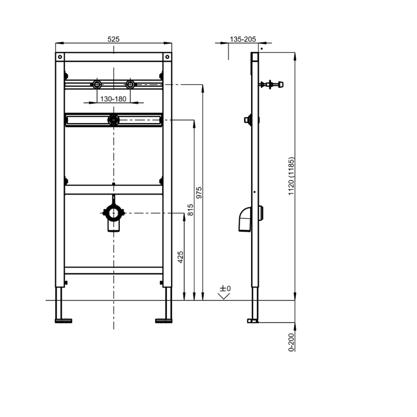 Stelaż podtynkowy do pisuarów ze stali szlachetnej wyposażonych w spłuczkę montowaną do syfonu Franke Aquafix rysunek techniczny