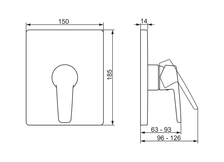 Element natynkowy do baterii natryskowej Oras Saga rysunek techniczny