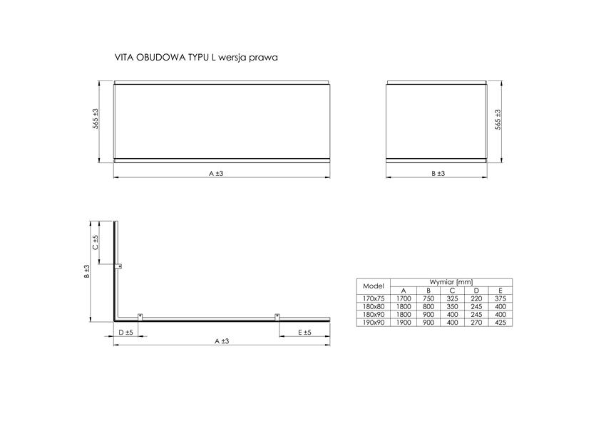 Obudowa typu L prawa do wanny akrylowej 180x90 cm Roca Vita rysunek techniczny