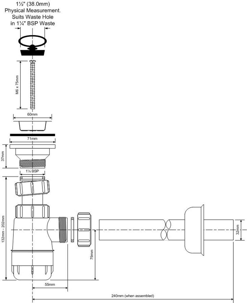 Syfon umywalkowy butelkowy niski McAlpine rysunek techniczny