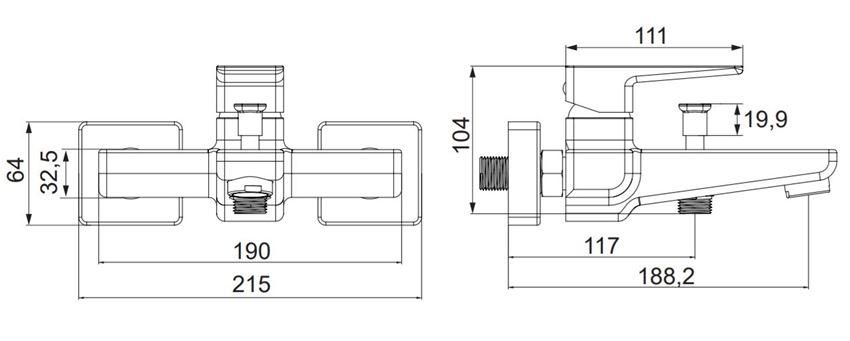 Bateria wannowa natynkowa Omnires Parma rys.techniczny