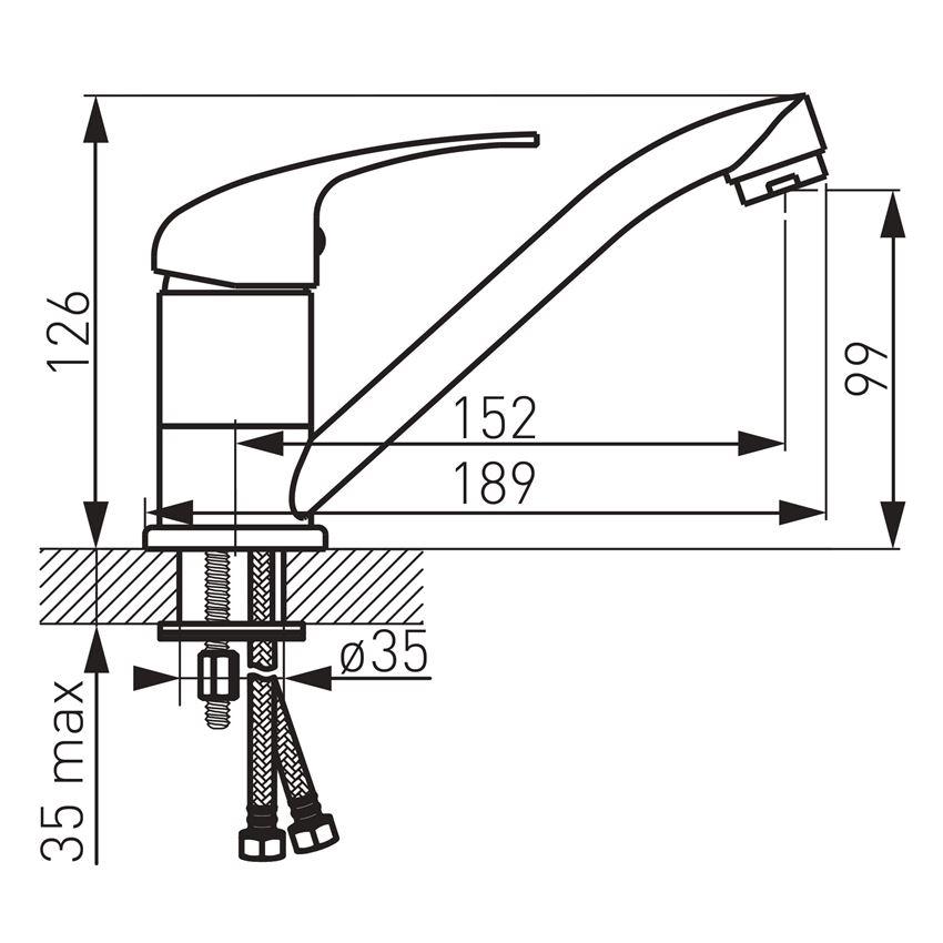Bateria umywalkowa z obrotową wylewką Ferro Titania Iris rysunek techniczny