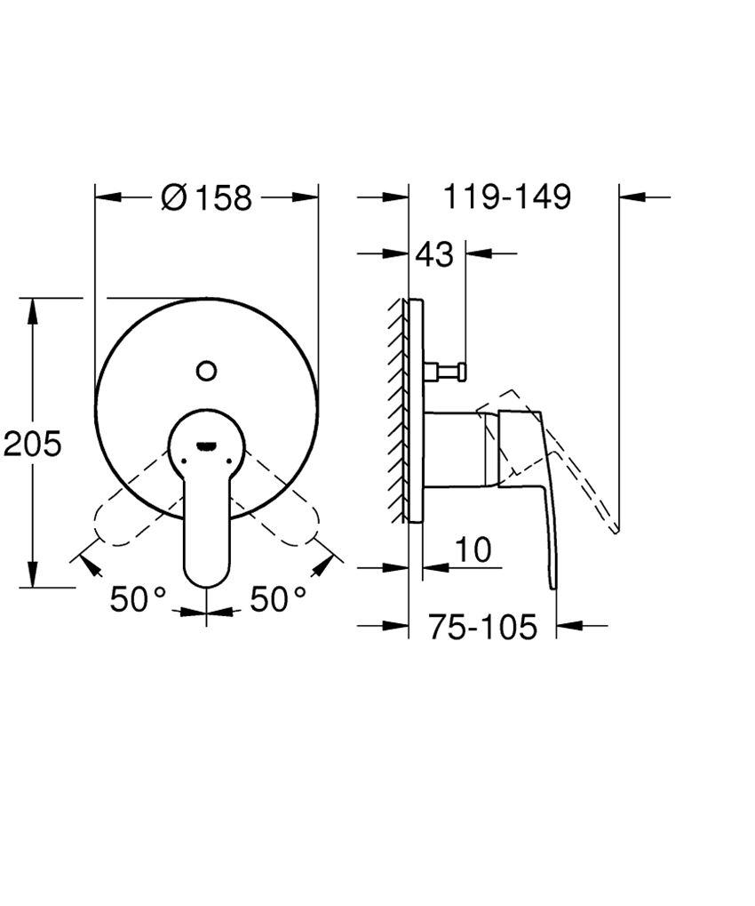 Jednouchwytowa bateria wannowa Grohe Eurostyle Cosmopolitan rysunek techniczny