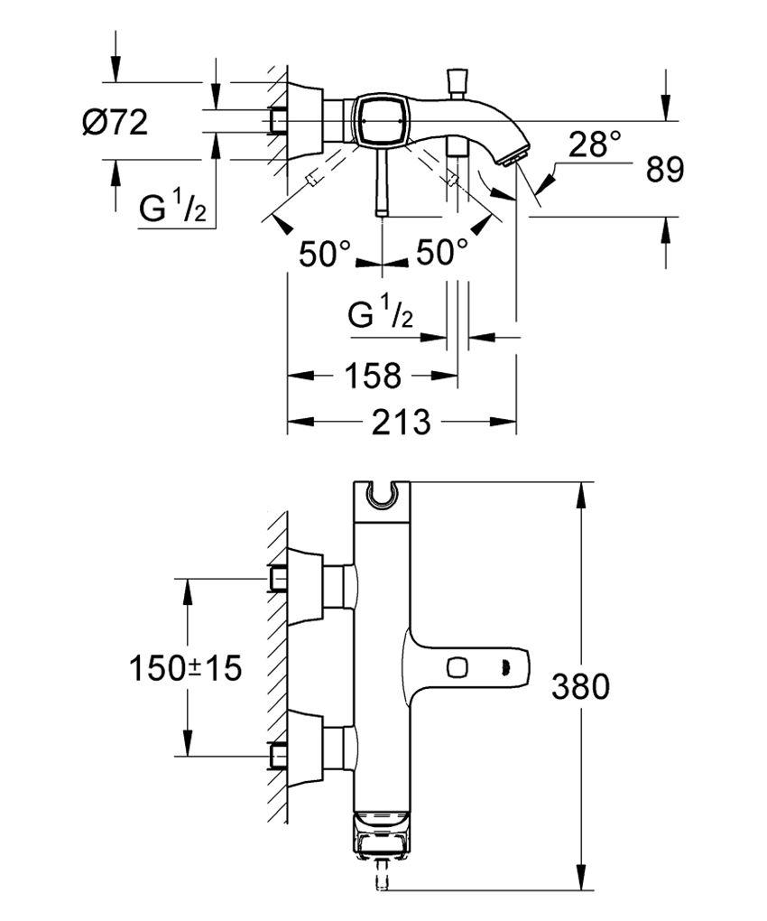 Jednouchwytowa bateria wannowa Grohe Grandera rysunek techniczny