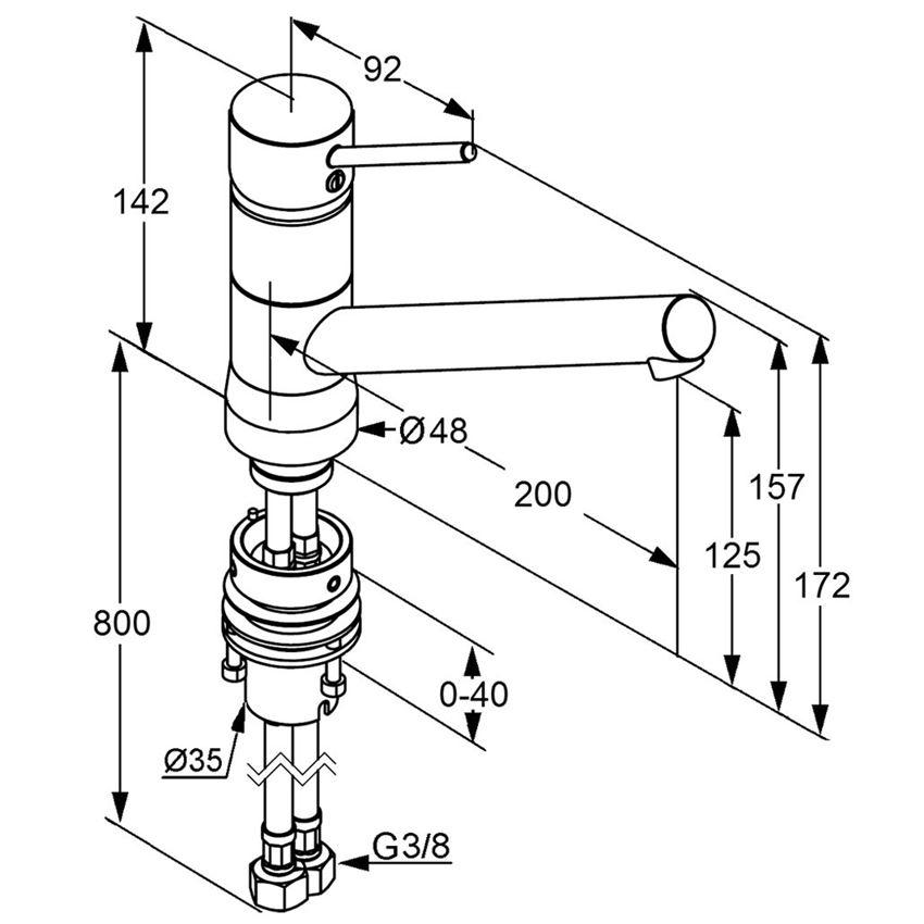Jednouchwytowa bateria kuchenna 14,2 cm Kludi Scope rysunek techniczny