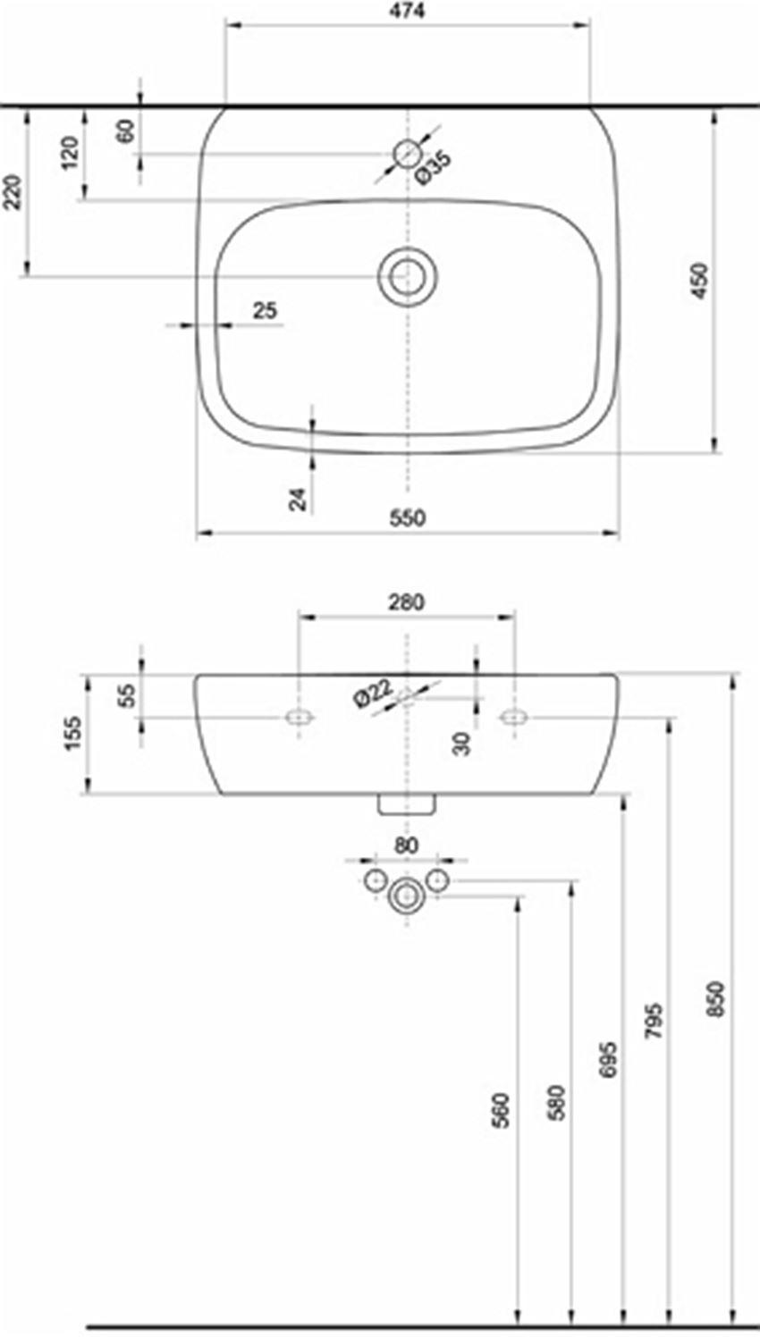 Umywalka 55 cm Koło Style rysunek techniczny