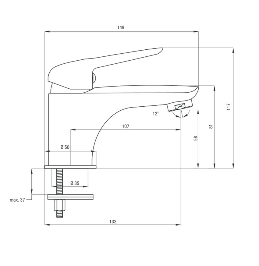 Bateria umywalkowa bez zamknięcia odpływu Deante Coriander rysunek