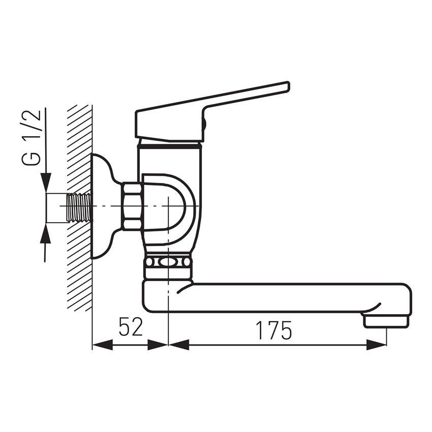 Bateria umywalkowa ścienna Ferro Smile rysunek techniczny