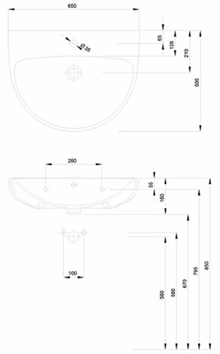 Umywalka półokrągła 65 cm Koło Nova Pro rysunek techniczny