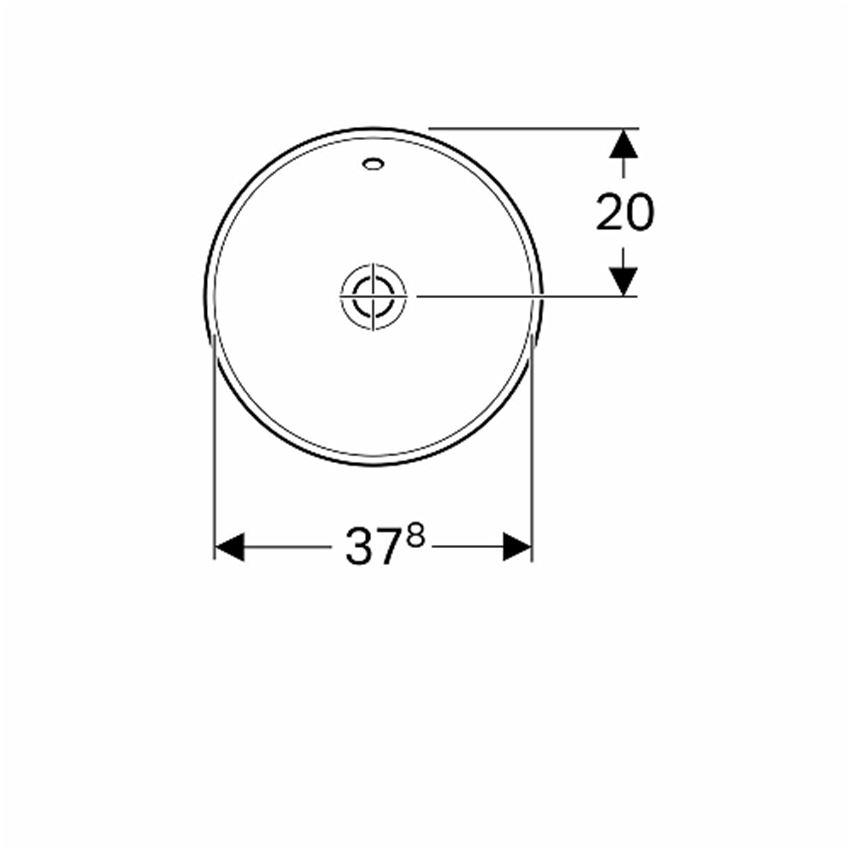 Umywalka okrągła wpuszczana w blat 40 cm Koło VariForm rysunek techniczny