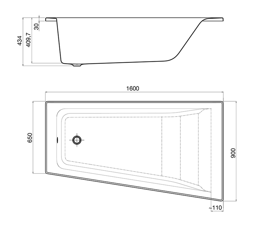 Asymetryczna narożna wanna z hydromasażem Effects Gold Prawa 160x90 cm Roca Easy rysunek techniczny