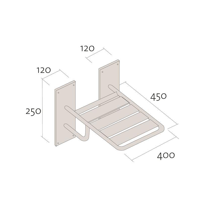 Krzesło prysznicowe składane 45x40 cm Cersanit Etiuda rysunek techniczny