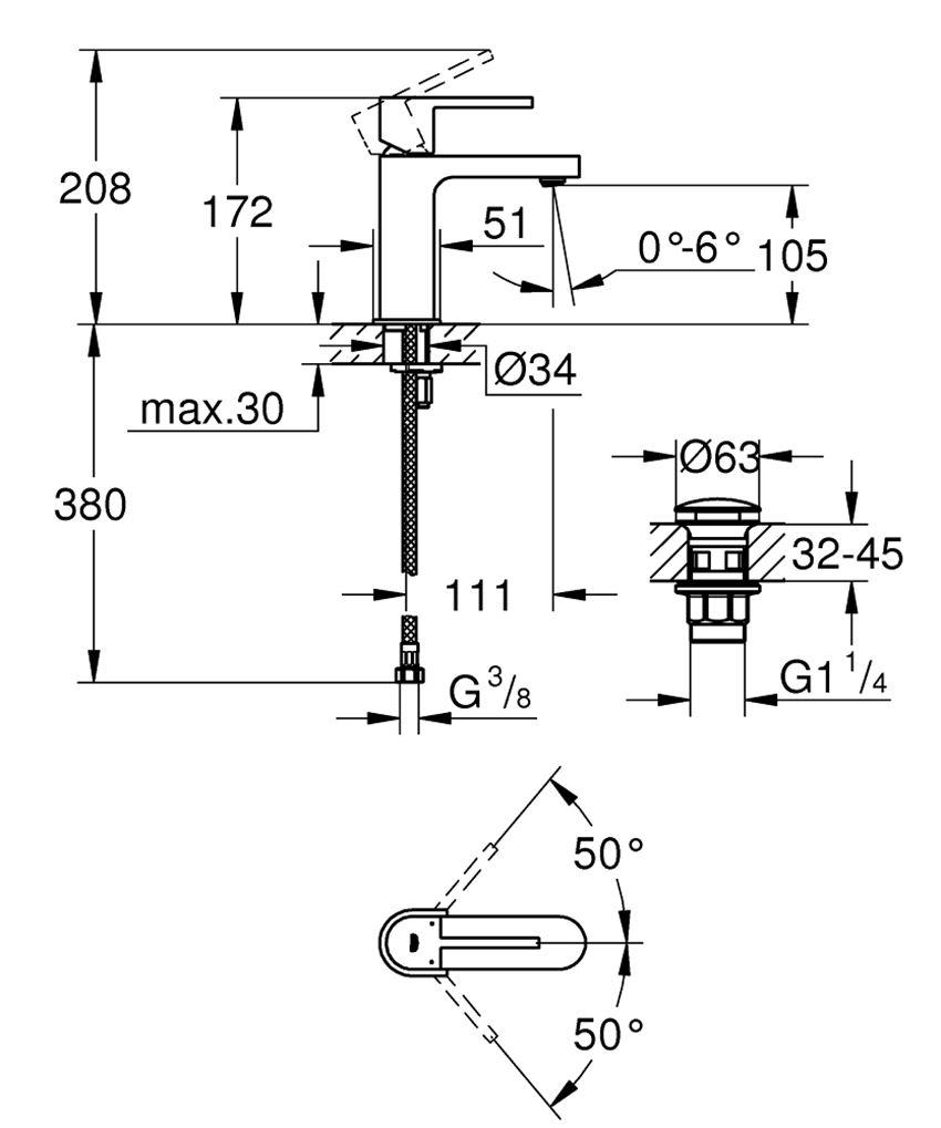 Jednouchwytowa bateria umywalkowa rozmiar S Grohe Plus rysunek techniczny