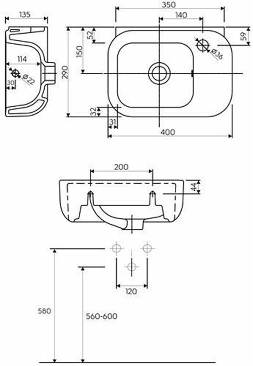 Umywalka 40 cm Koło Ego rysunek techniczny