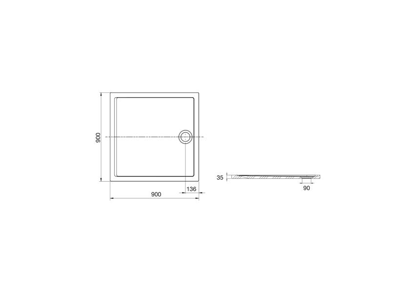 Brodzik 90x90x3,5 cm Roca Aeron rysunek techniczny