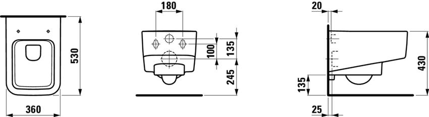Miska WC wisząca lejowa bezkołnierzowa Laufen Pro S rysunek