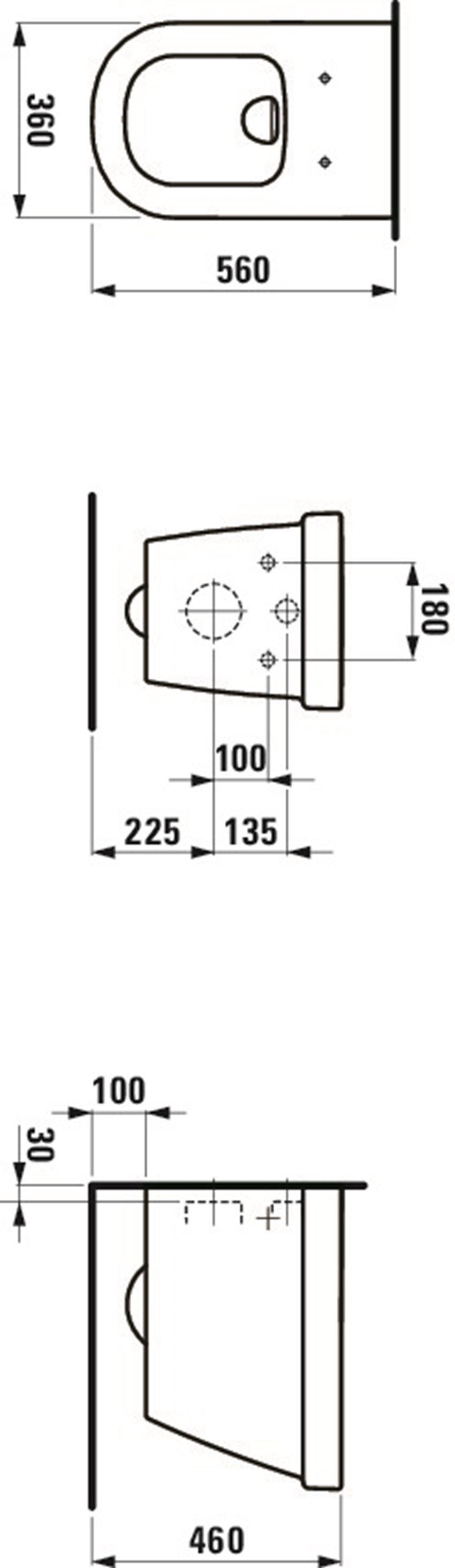 Miska WC podwieszana Laufen LB3 rysunek techniczny