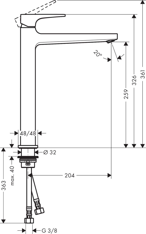 Jednouchwytowa bateria umywalkowa 260 z kpl. odpływowym Push-Open Hansgrohe Metropol rysunek techniczny