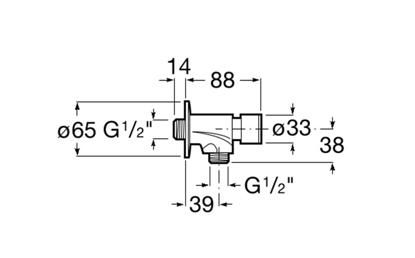 Bateria czasowa pisuarowa Roca Instant rysunek techniczny