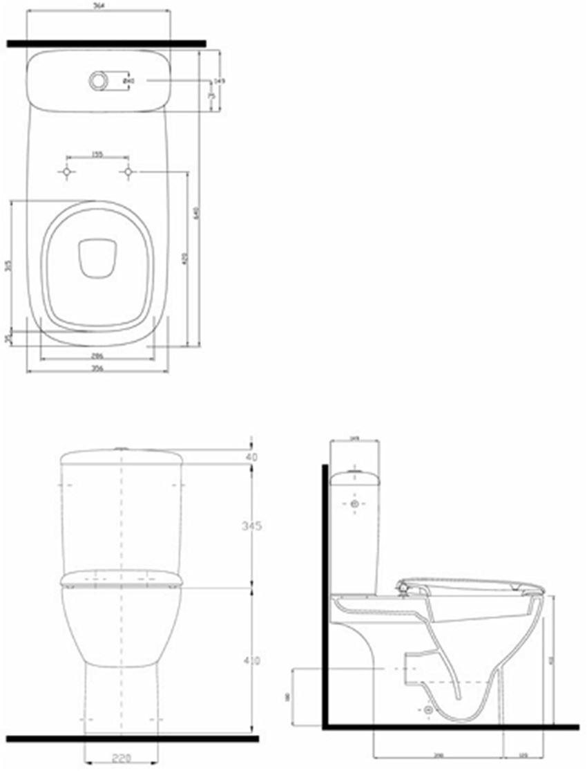 Zestaw WC kompakt Koło Style rysunek techniczny