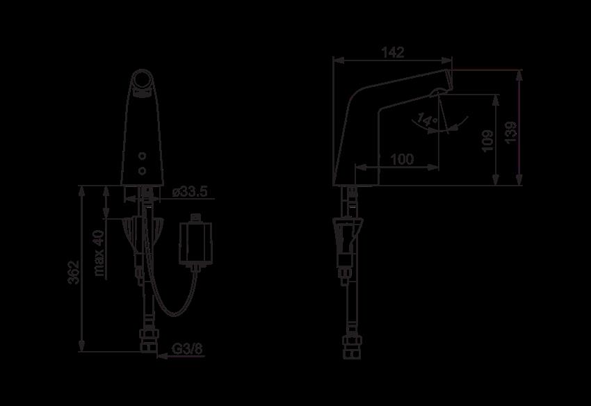 Bateria umywalkowa Oras Inspera XS rysunek techniczny