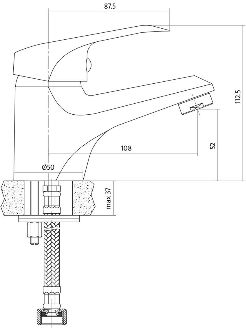 Bateria umywalkowa stojąca Cersanit Amet rysunek