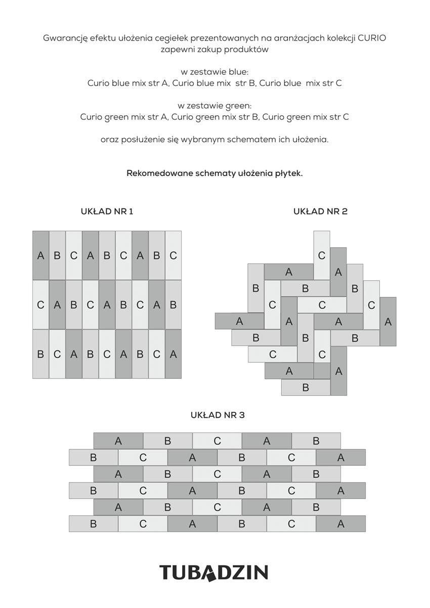 Schemat układania płytek ściennych 7,8x23,7 cm Tubądzin Curio