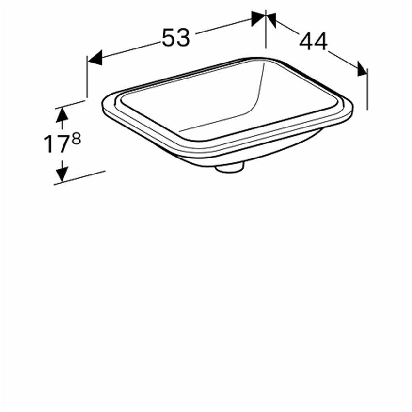 Umywalka podblatowa prostokątna 45x35 cm bez otworu i bez przelewu Koło VariForm