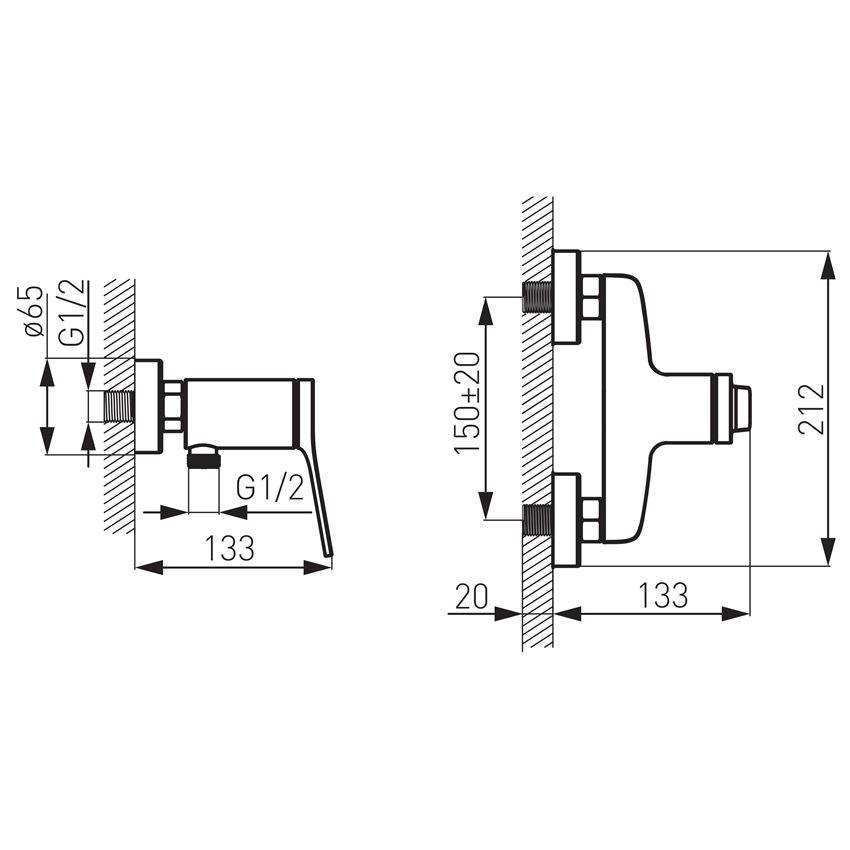 Bateria natryskowa ścienna Ferro Stratos rysunek techniczny