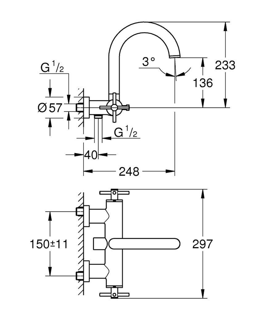 Ścienna bateria wannowa Grohe Atrio rysunek techniczny