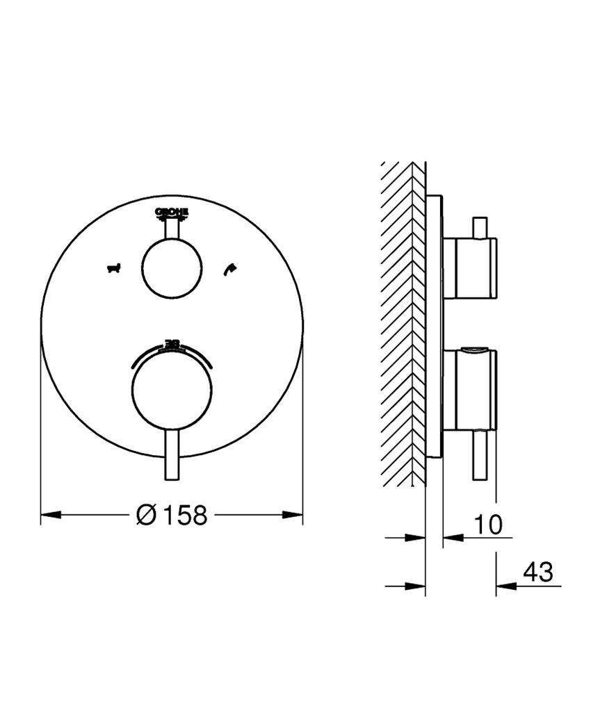 Termostatyczna bateria wannowa do obsługi dwóch wyjść wody Grohe Atrio rysunek techniczny