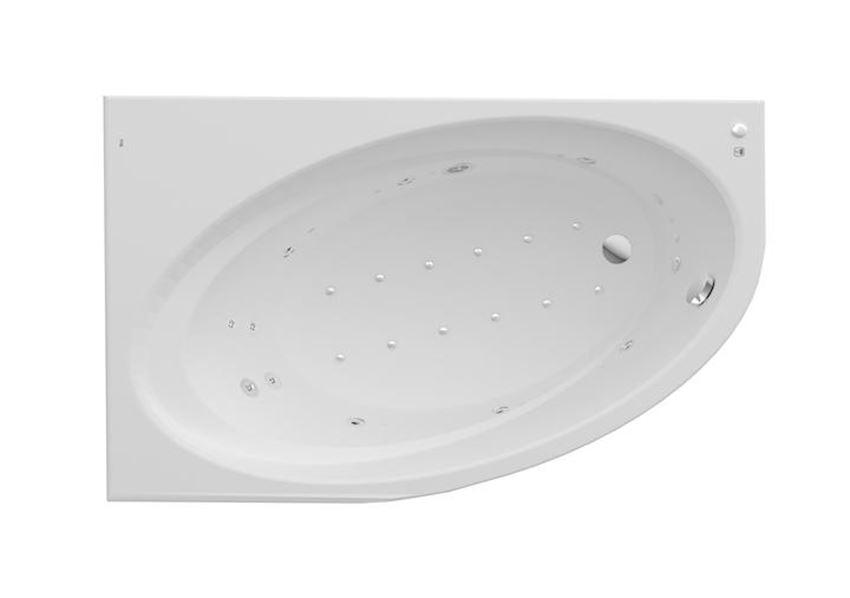 Asymetryczna narożna wanna akrylowa z hydromasażem Effects Titanium 140x100x45 cm Roca Orbita
