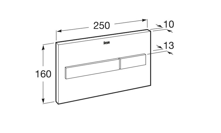 PL7 - przycisk 2-funkcyjny Roca Stelaże podtynkowe rysunek techniczny