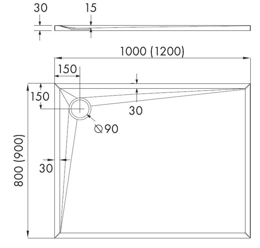 Brodzik prostokątny IÖ Smig biały rys techniczny