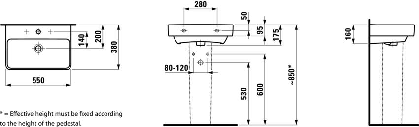 Umywalka wersja compacto 55 cm Laufen Pro S rysunek
