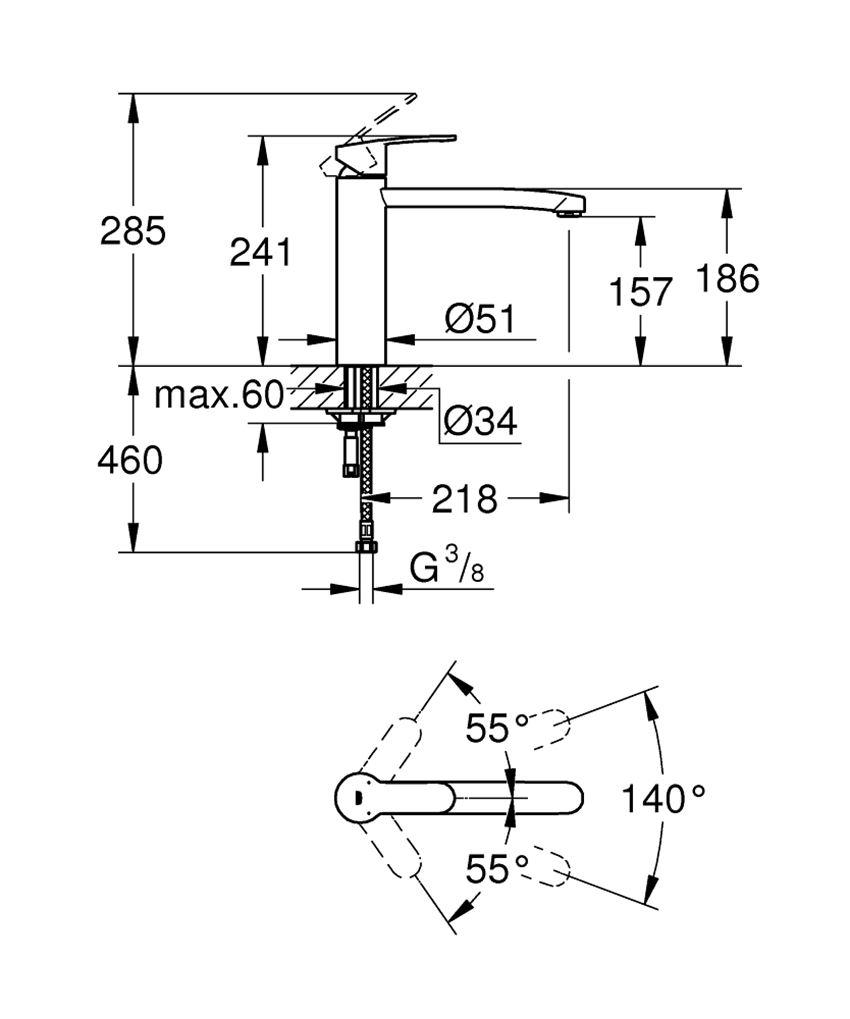 Jednouchwytowa bateria kuchenna 24,1 cm Grohe Eurostyle Cosmopolitan rysunek techniczny