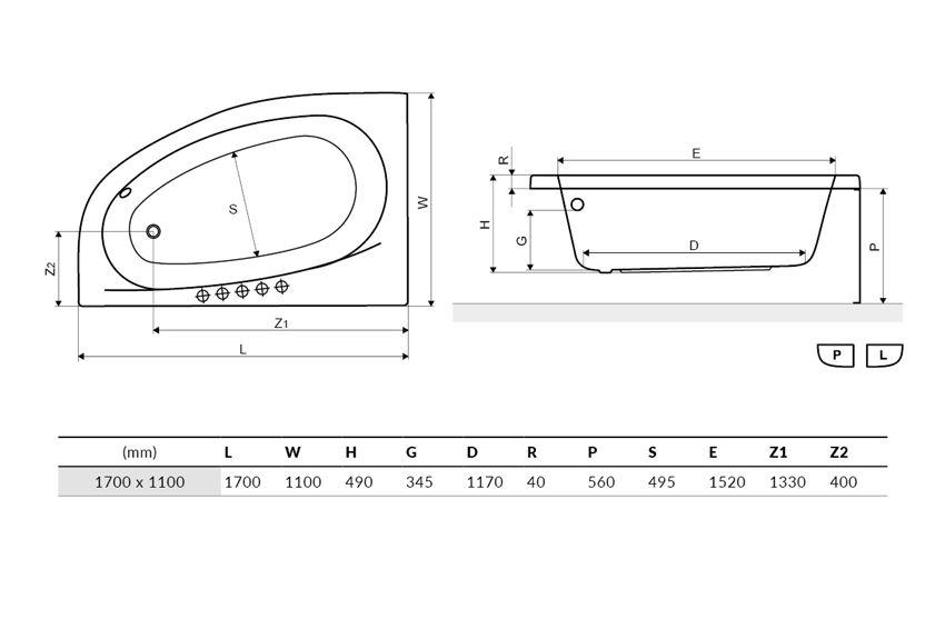 Wanna narożna lewa 170x 110 cm Excellent Kameleon rysunek techniczny