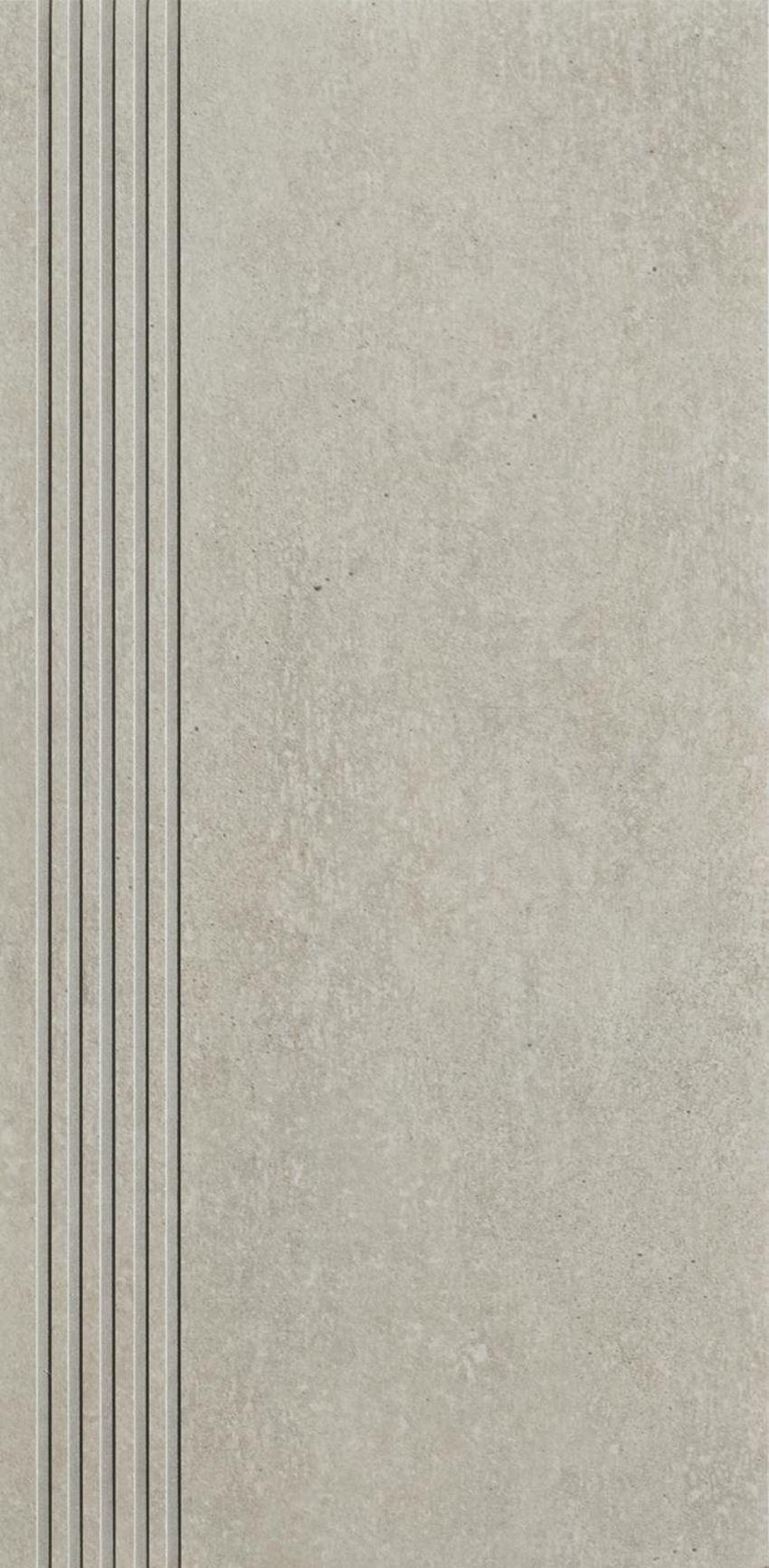 Płytka stopnicowa 29,8x59,8 cm Paradyż Rino Grys Stopnica Prosta Nacinana Mat